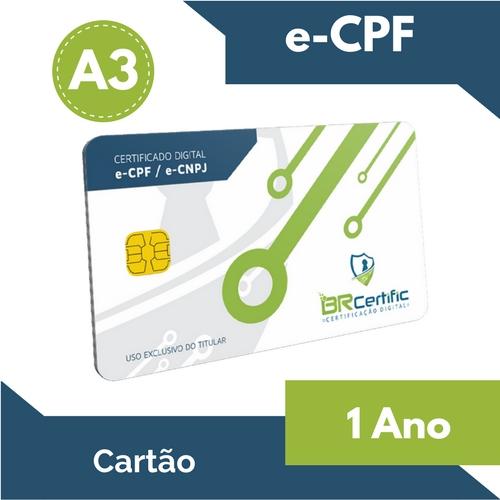 CERTIFICADO DIGITAL e-CPF A3 1 ANO + CARTÃO