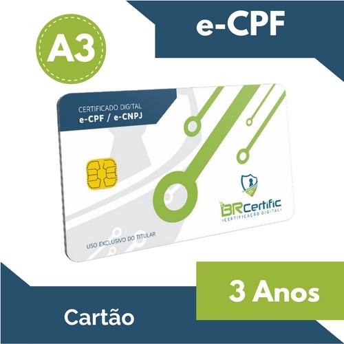CERTIFICADO DIGITAL e-CPF A3 3 ANOS + CARTÃO