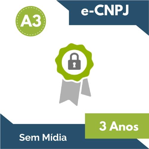 CERTIFICADO DIGITAL e-CNPJ A3 3 ANOS (sem mídia)