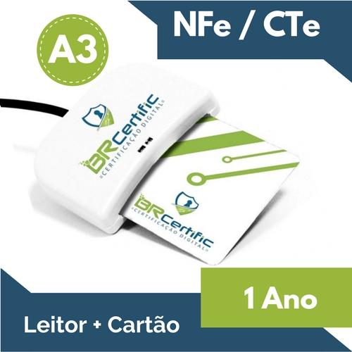 CERTIFICADO DIGITAL NFe/CTe A3 1 ANO + LEITOR + CARTÃO