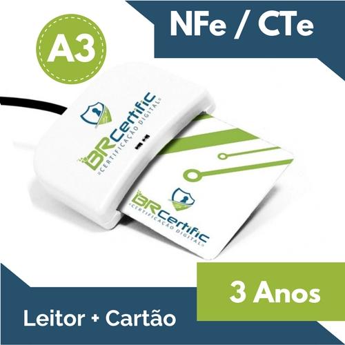 CERTIFICADO DIGITAL NFe/CTe A3 3 ANOS + LEITOR + CARTÃO